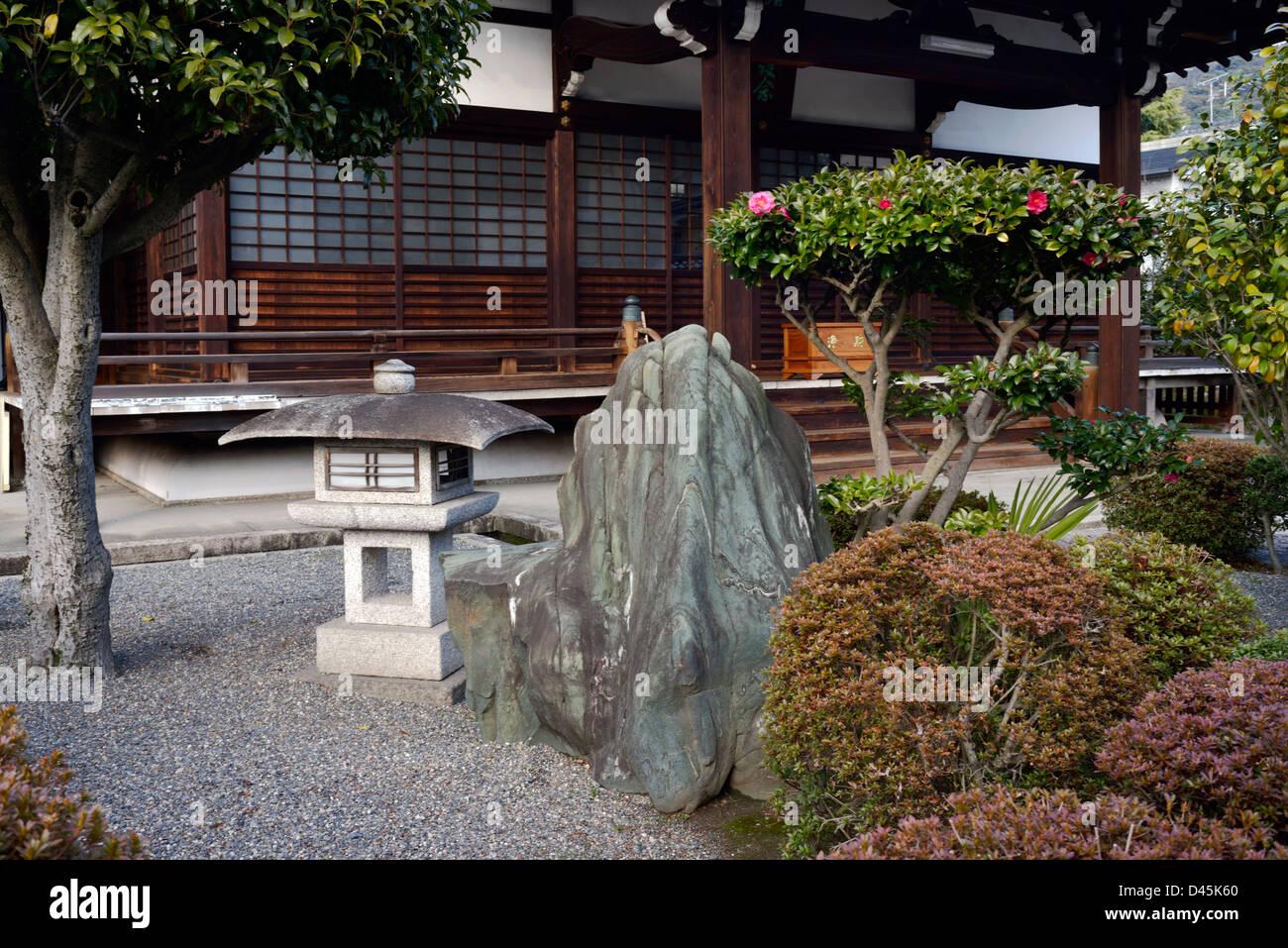 Il giardino di pietra di un tempio kyoto foto immagine stock