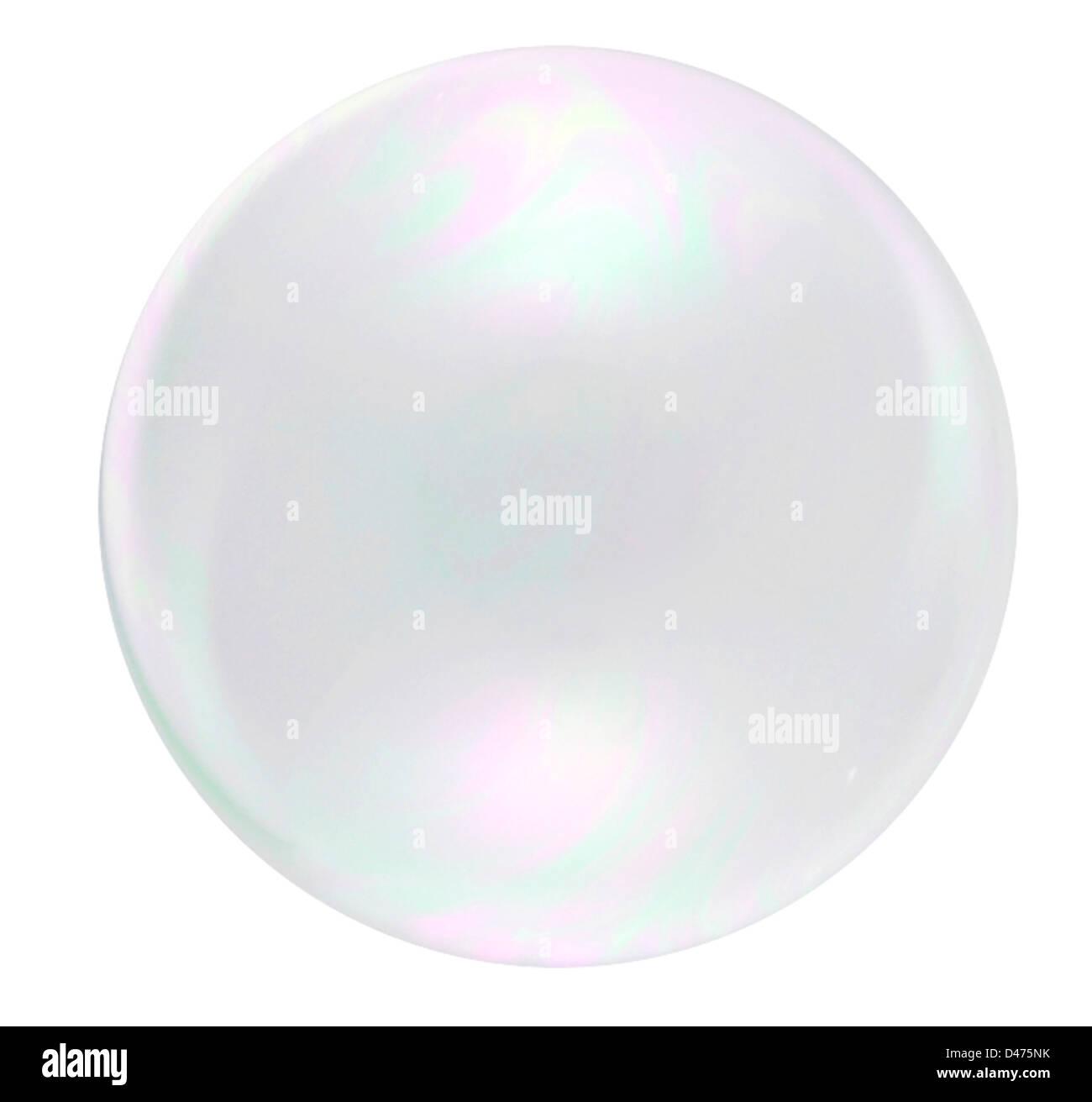 Singola bolla ritagliata su sfondo bianco Immagini Stock