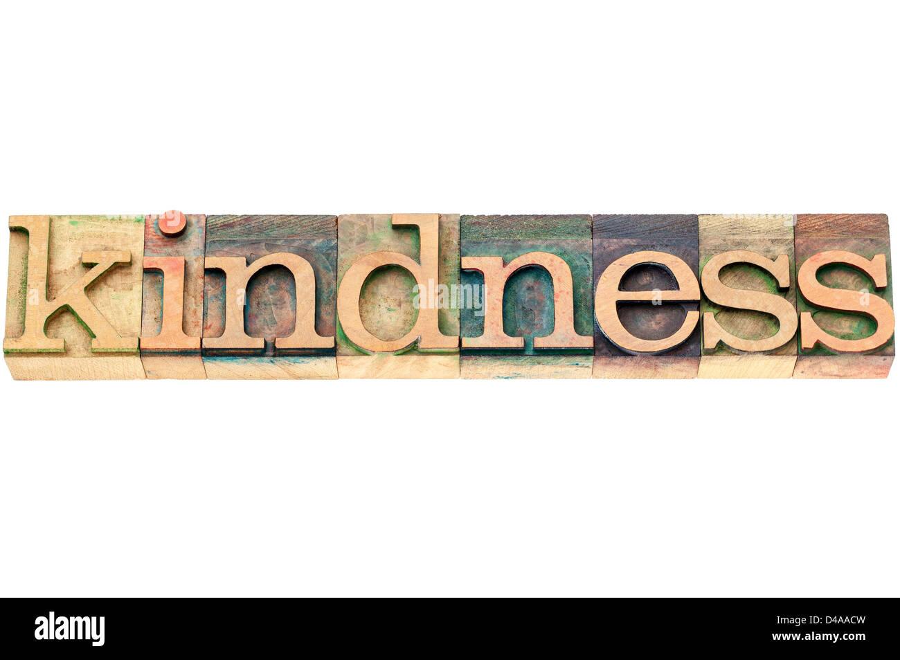 Gentilezza - parola isolata in rilievografia vintage tipo legno blocchi di stampa Immagini Stock