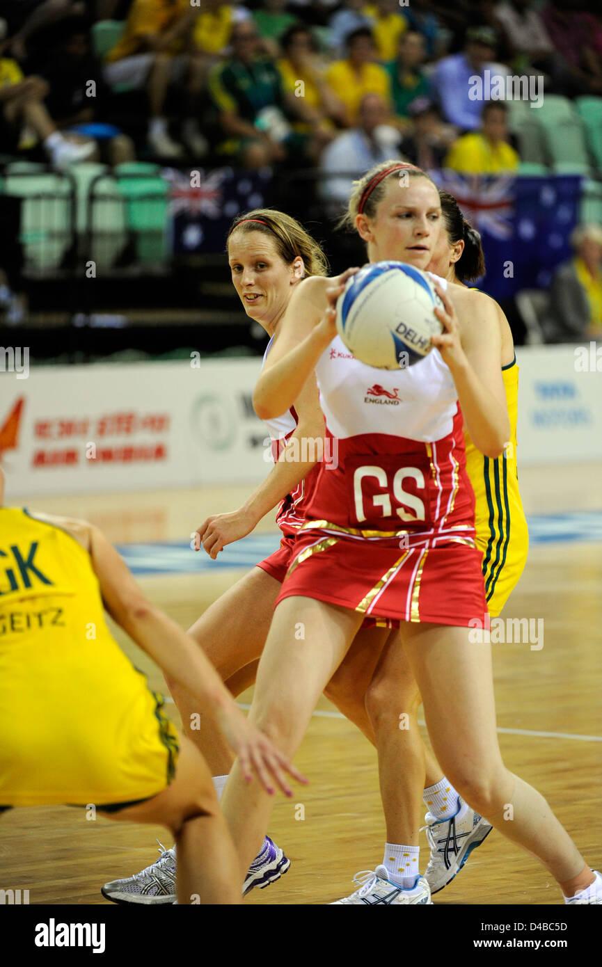 Netball semifinali, Inghilterra vs Australia, Giochi del Commonwealth Immagini Stock
