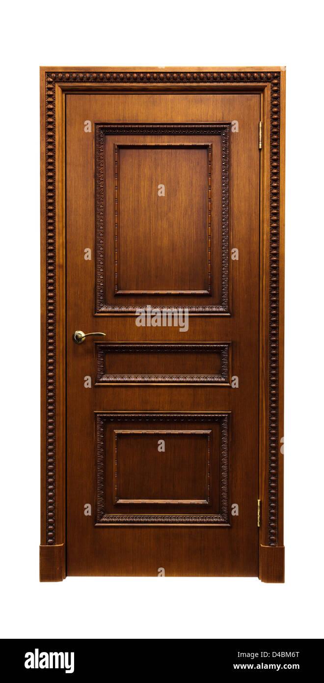 Porta di legno. Isolato su sfondo bianco. Immagini Stock