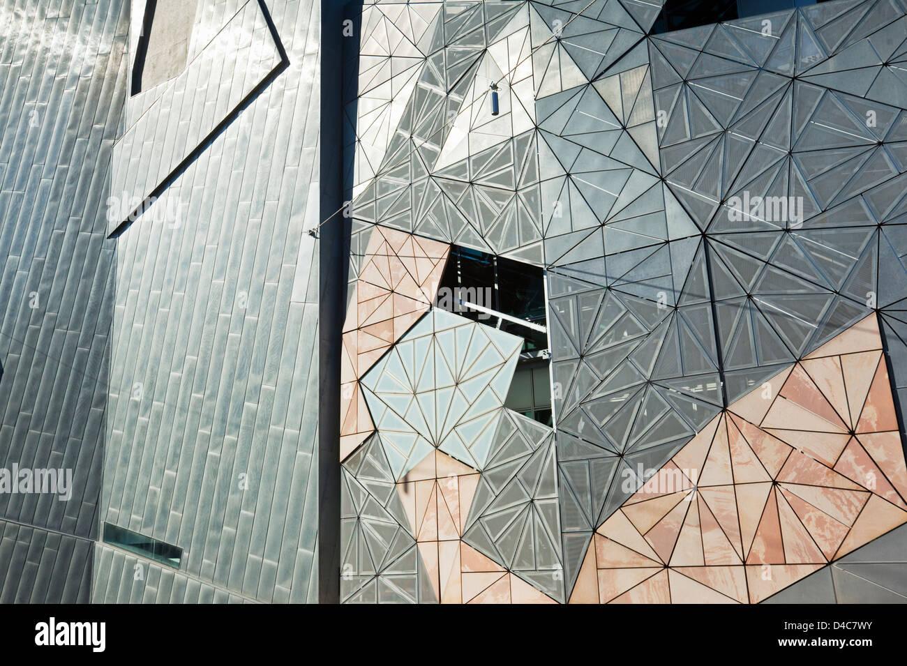 Architettura iconica della Federation Square. Melbourne, Victoria, Australia Immagini Stock