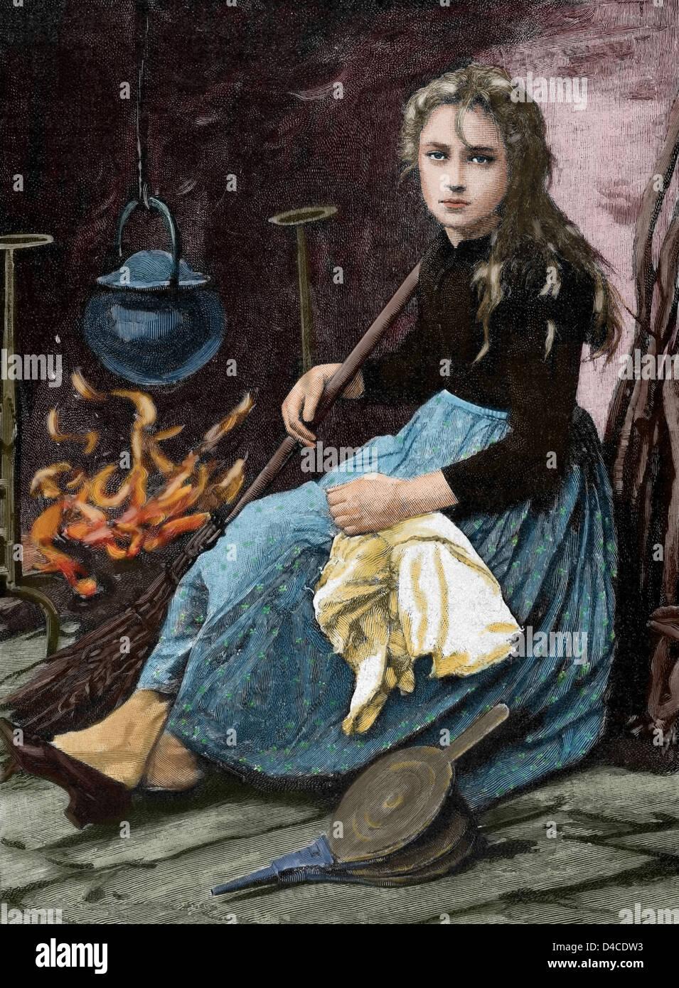 Cenerentola. Carattere nel racconto scritto da Charles Perrault. L'incisione nell'illustrazione iberica, Immagini Stock