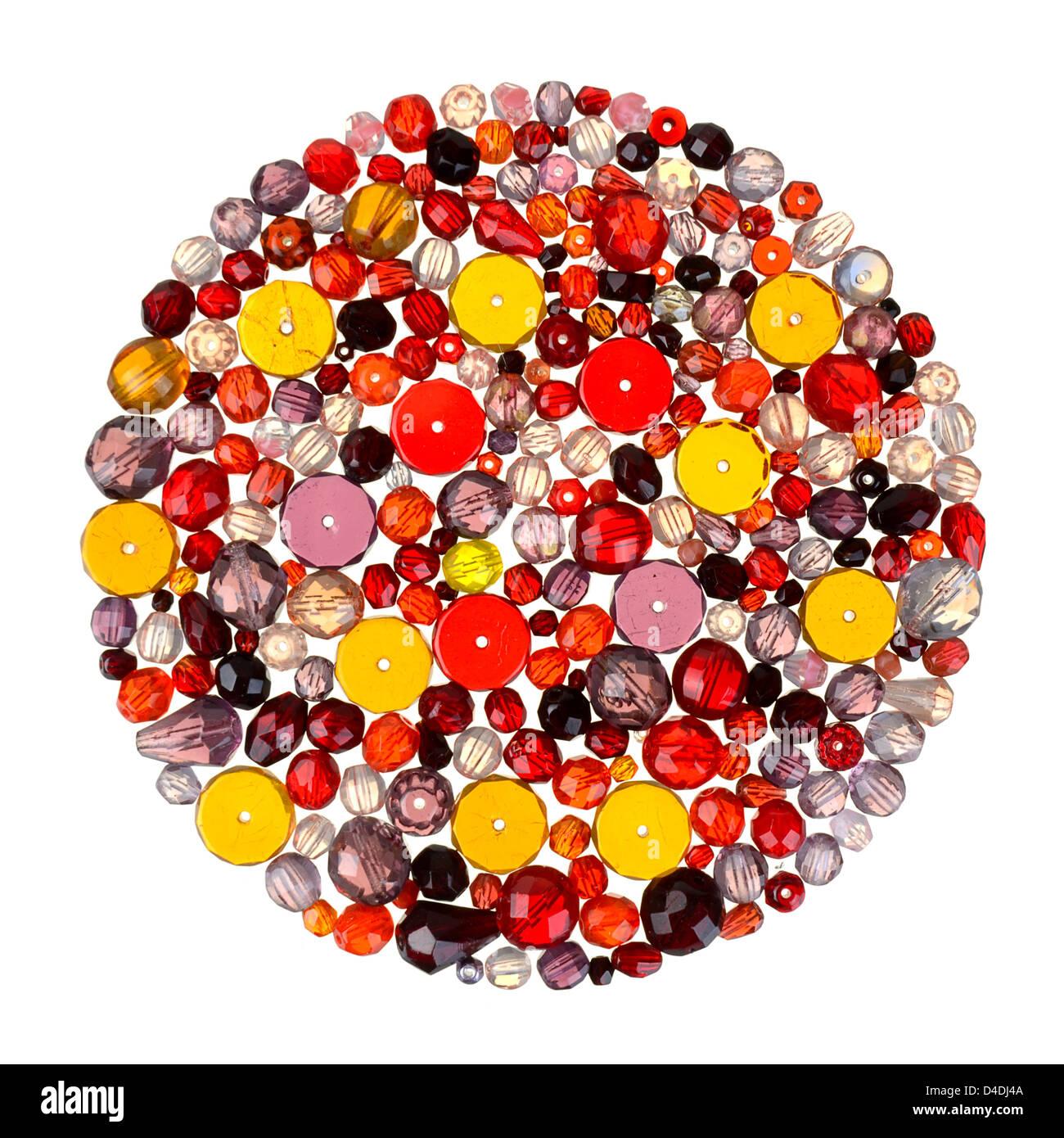 Perline di vetro per la bordatura e gioielleria Immagini Stock