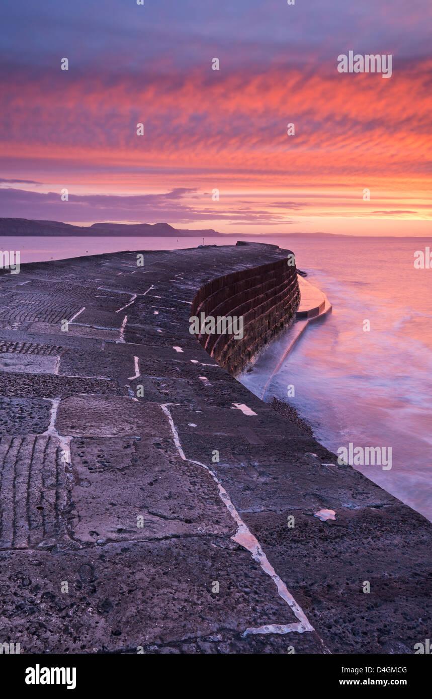 Inverno spettacolare alba sopra il porto di Cobb parete, Lyme Regis, Dorset, Inghilterra. Inverno (febbraio) 2013. Immagini Stock