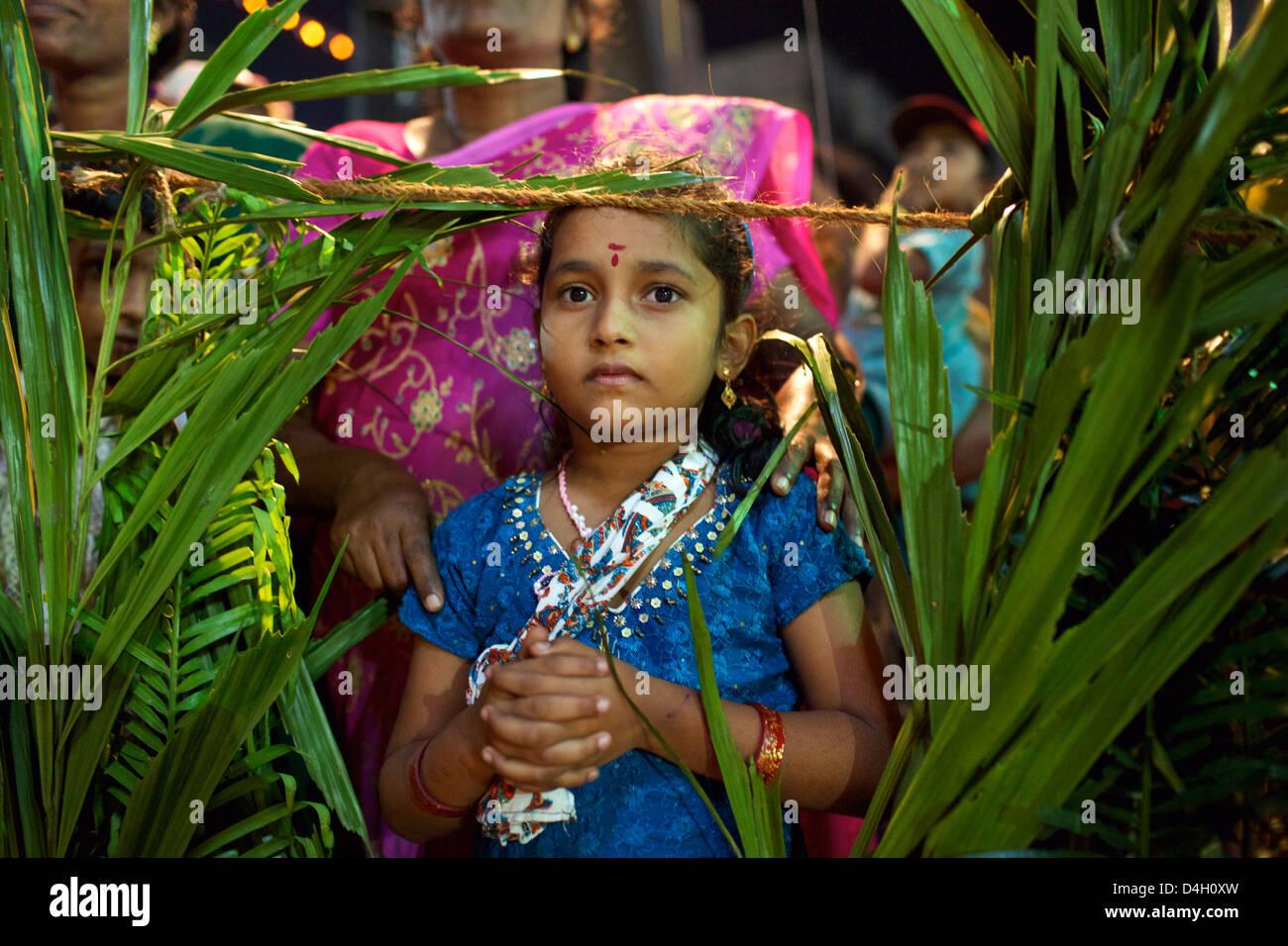 Celebrazione cristiana per San Sebastian compleanno nel villaggio di Poovar sulla costa sud del Kerala, India Immagini Stock