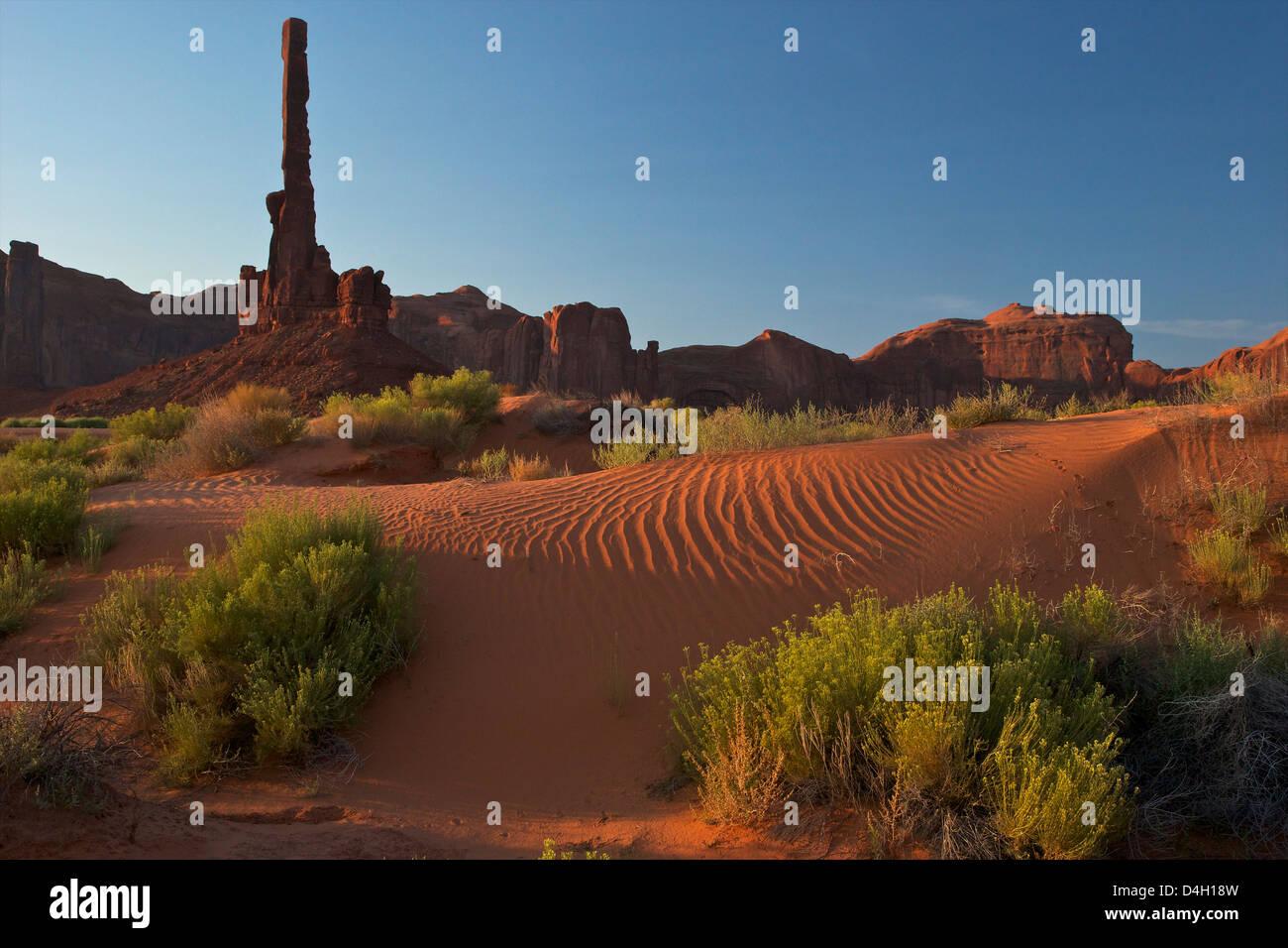 Il Totem Pole all'alba, il parco tribale Navajo Monument Valley, Utah, Stati Uniti d'America Immagini Stock
