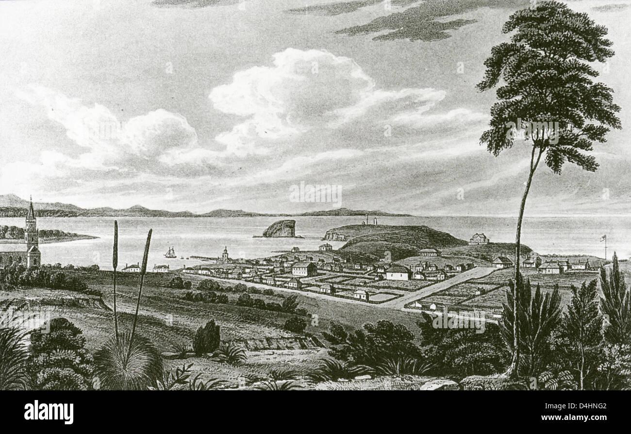 NEWCASTLE, Nuovo Galles del Sud, Australia, nel 1825, tre anni dopo che ha cessato di essere un insediamento penale. Immagini Stock