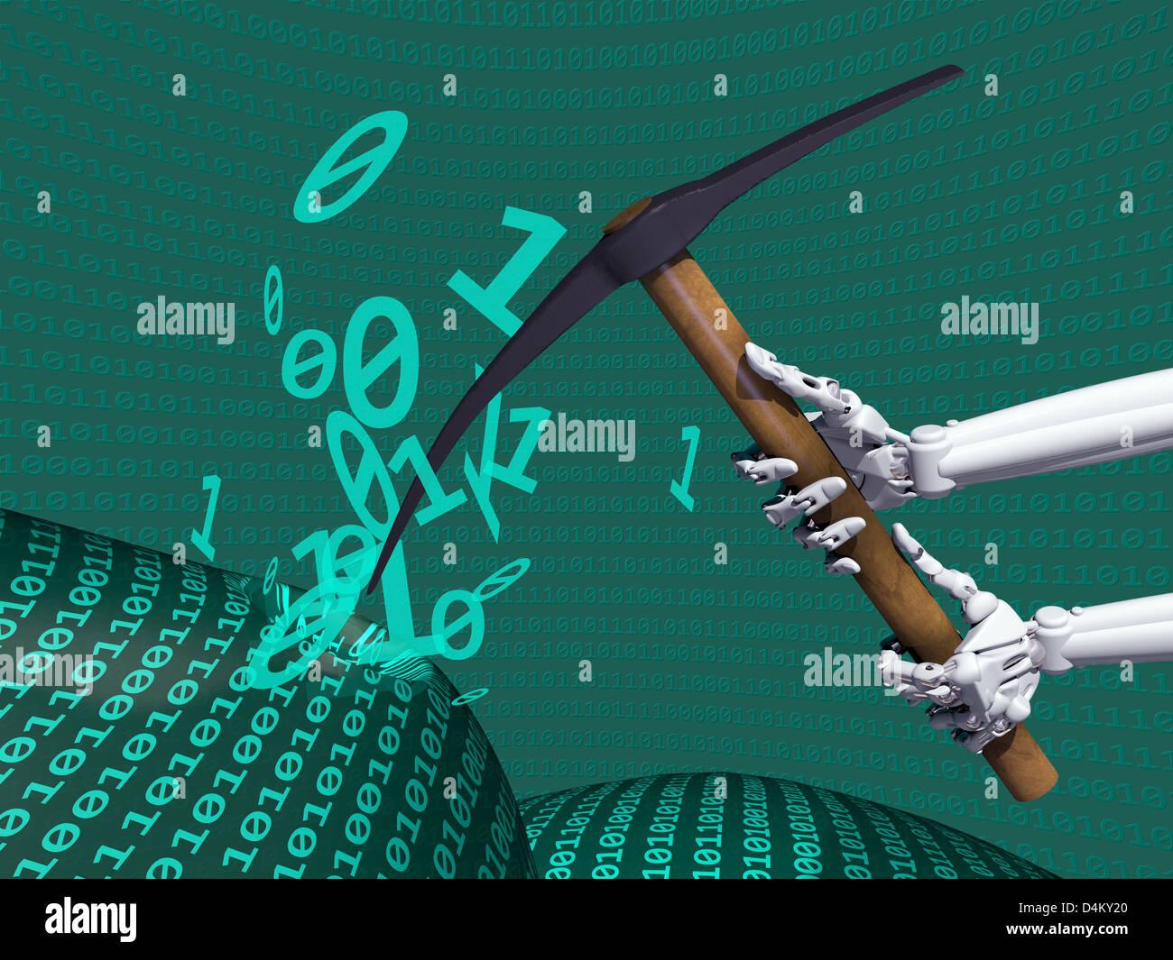 Illustrazione raffigurante il data mining di informazioni sul computer Foto Stock