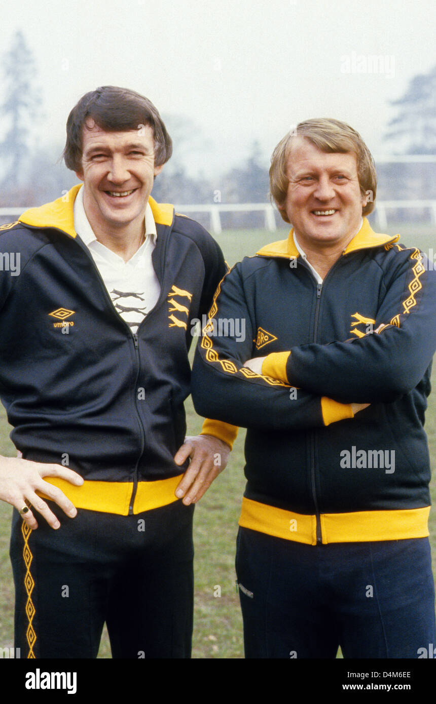 John Barnwell manager di Wolverhampton Wanderers e Ritchie Barker 1980 Immagini Stock