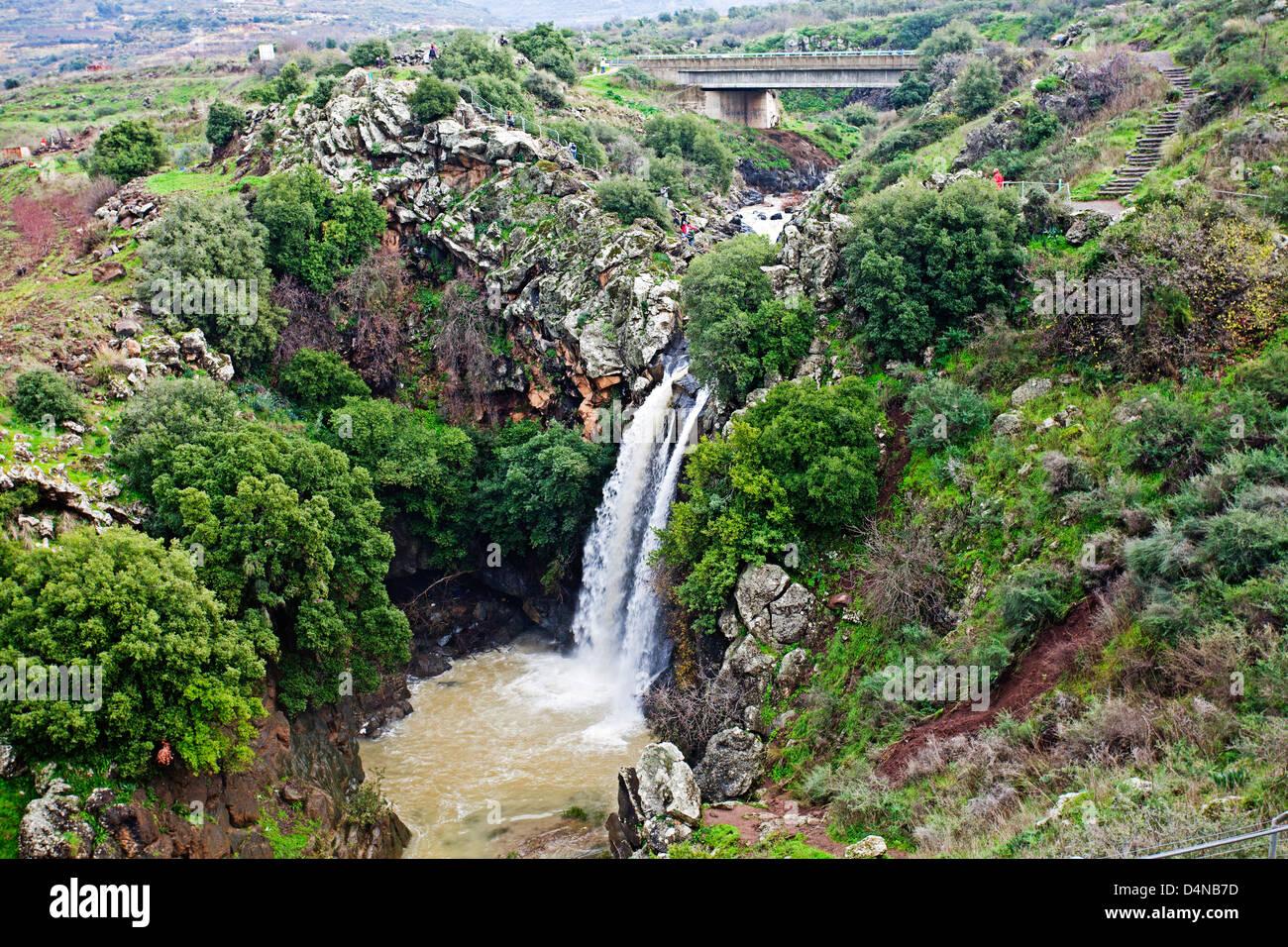 Israele, Golan, Saar con cascata riserva naturale Immagini Stock