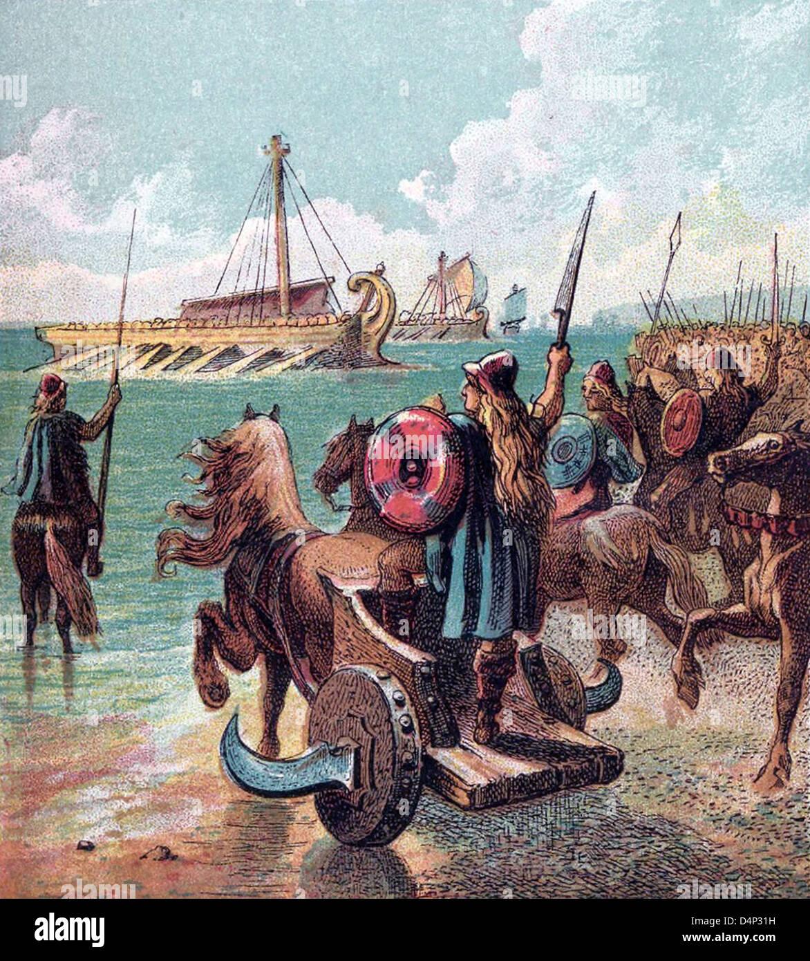 Antica britannici si oppongono il romano degli sbarchi Immagini Stock