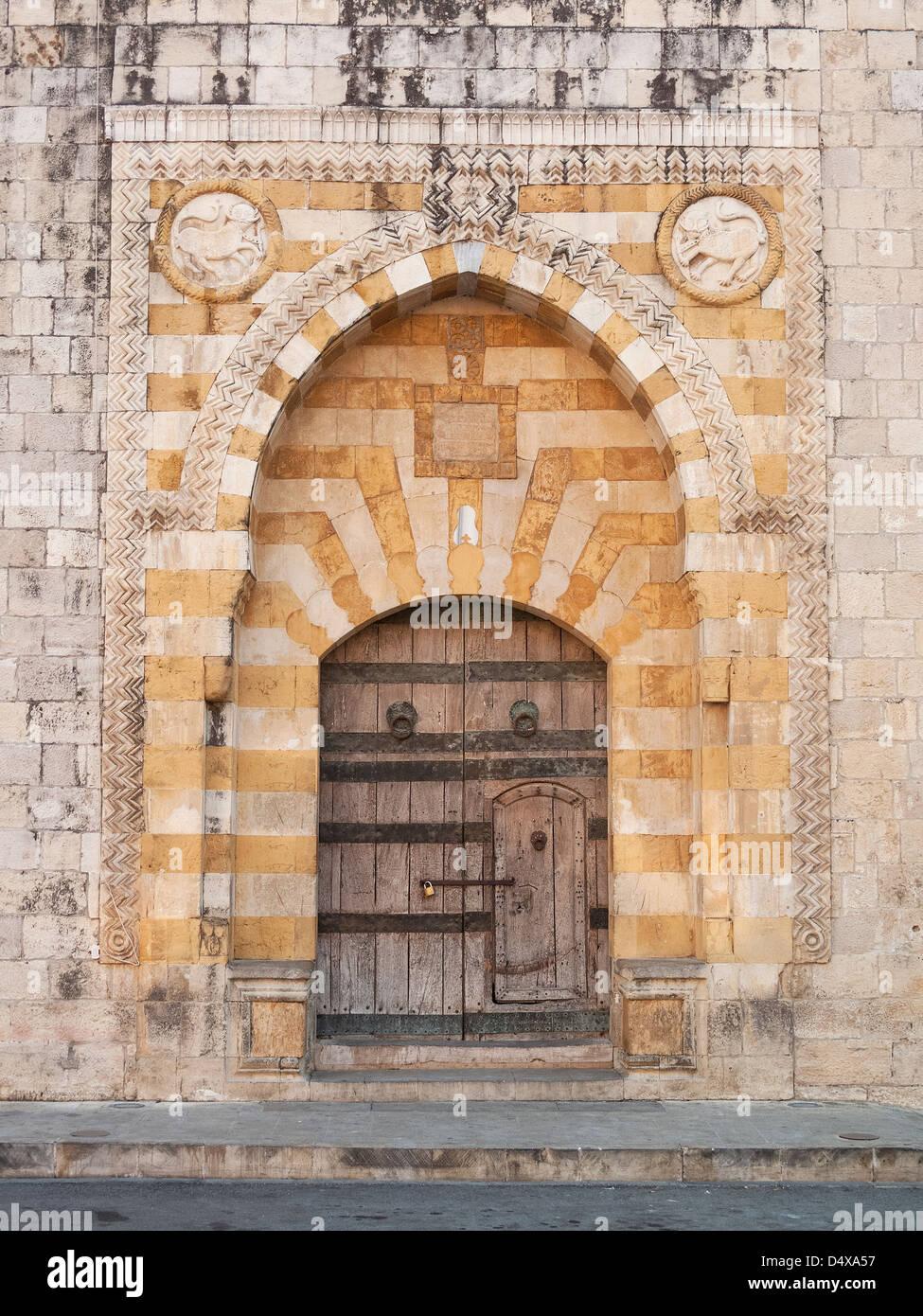 Chiesa cristiana porta nei pressi di Beyrouth in Libano Immagini Stock