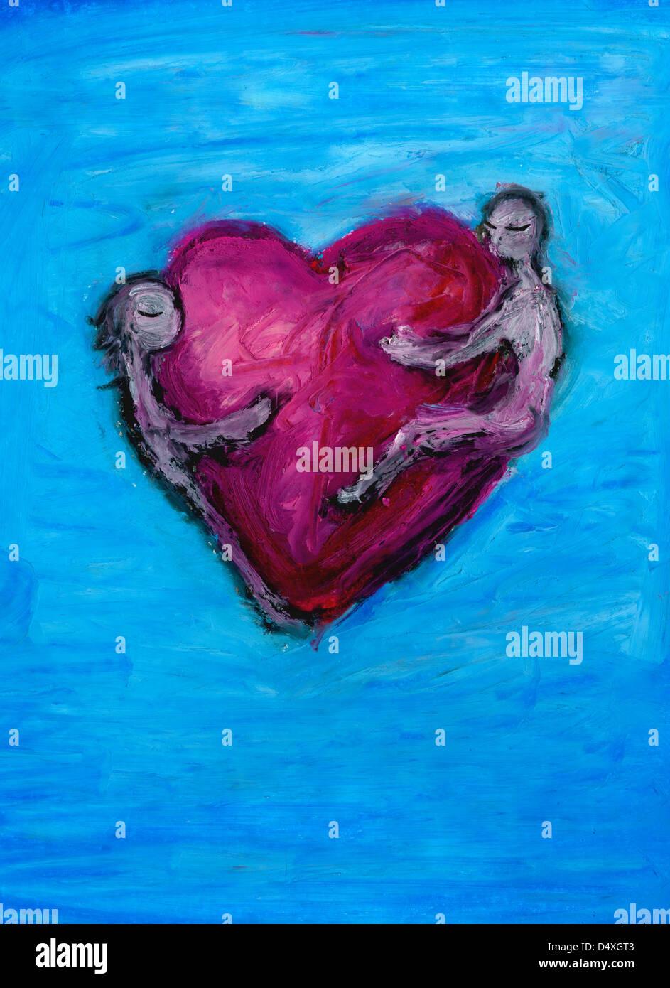 Due amanti abbracciando il cuore. Immagini Stock
