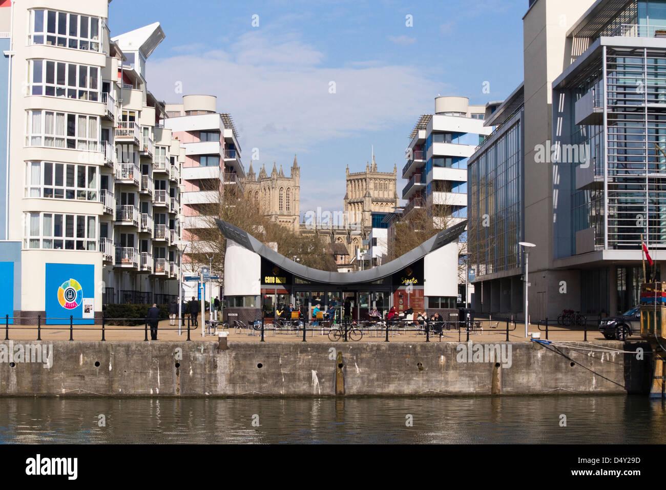 Cafe Gusto, Bristol Harbourside, Bristol England Regno Unito Immagini Stock