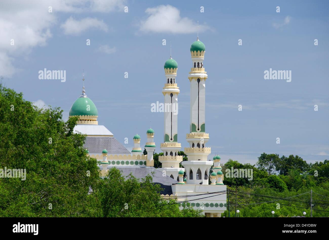 Asia, Borneo Brunei Darussalam Bandar Seri Begawan. Acqua moschea del villaggio. Immagini Stock