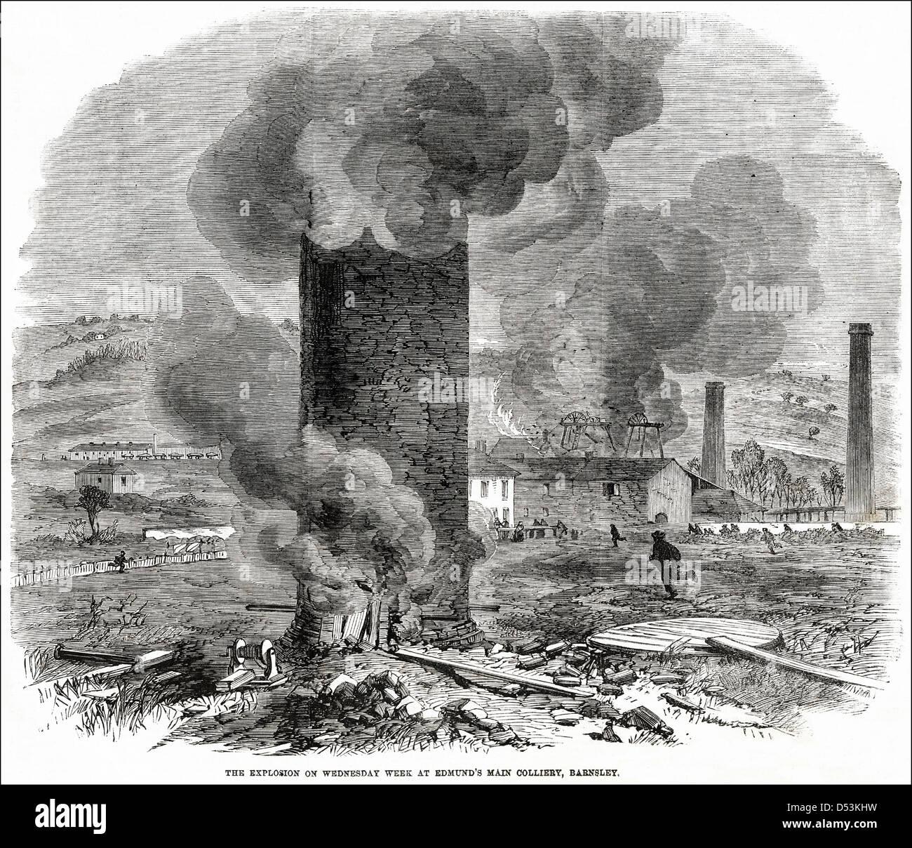 Esplosione presso St Edmund la principale miniera di carbone Barnsley England Regno Unito. Victorian xilografia Foto Stock