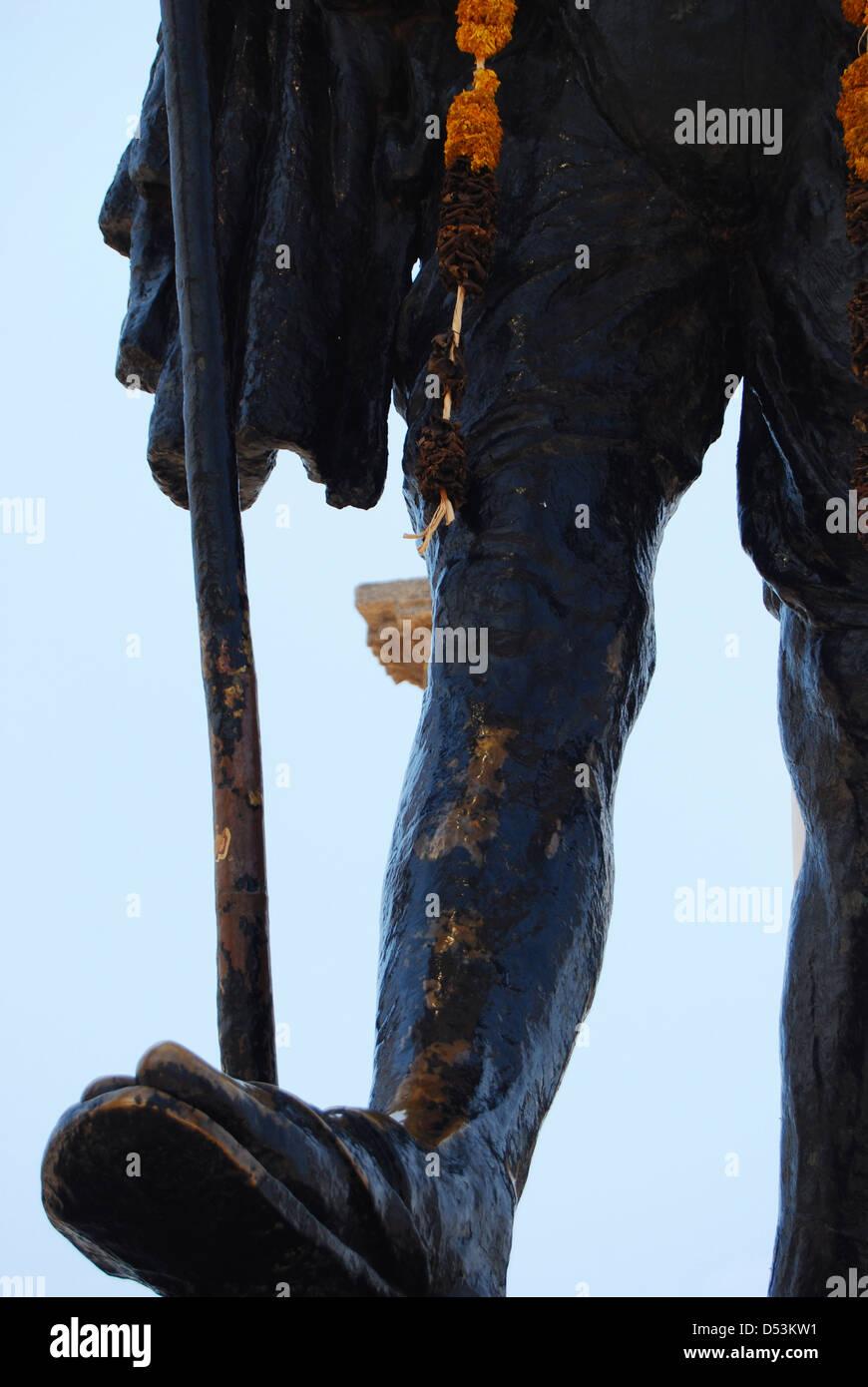 Dettaglio della statua del Mahatma Gandhi Puducherry Pondicherry Immagini Stock