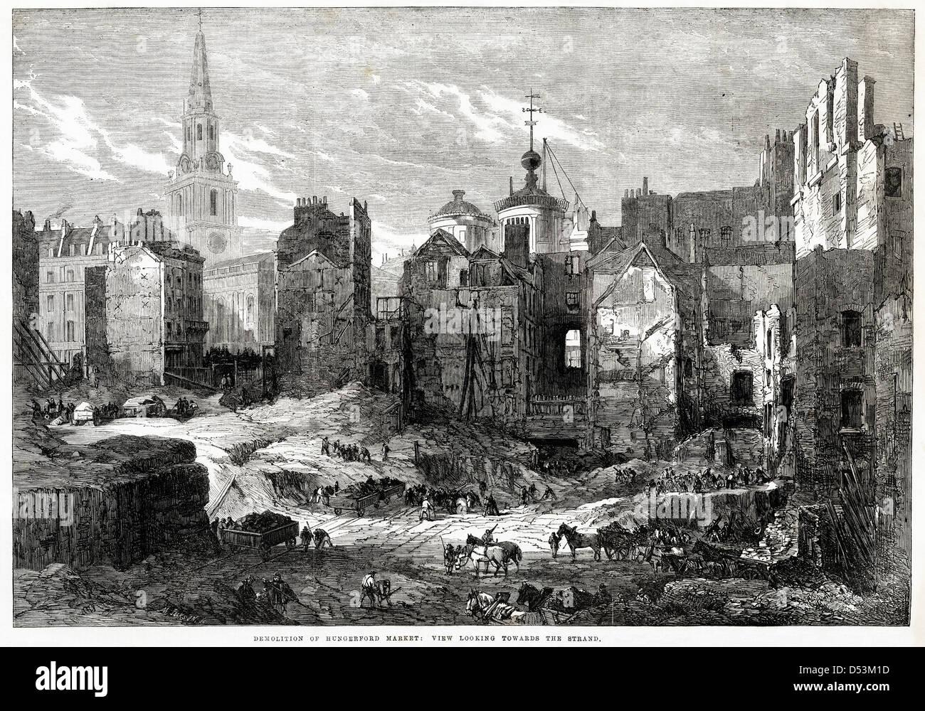 Londra nel periodo Vittoriano. Demolizione di mercato a Hungerford Londra, per far strada a Charing Cross stazione Foto Stock