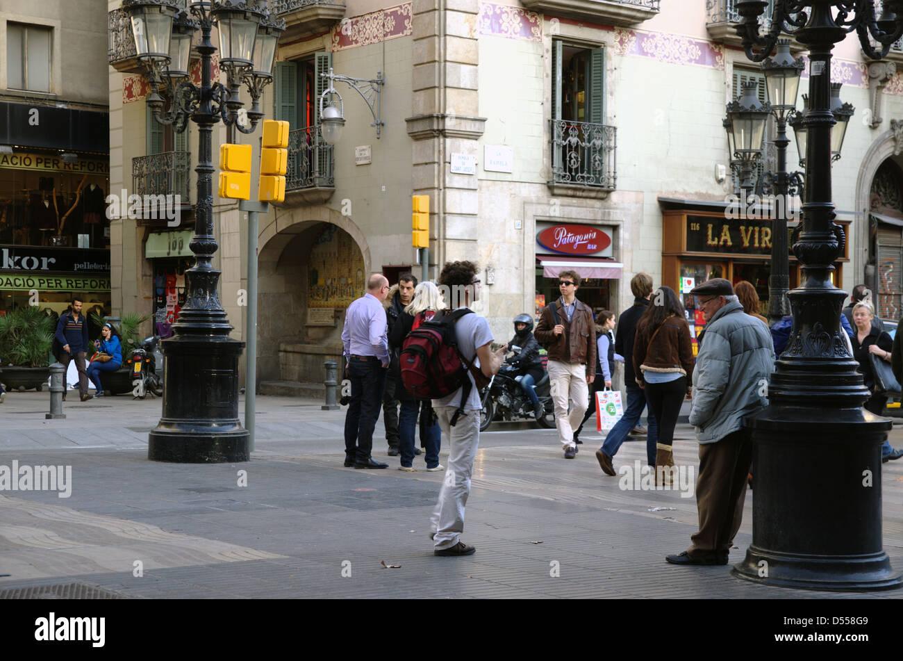 Ambient della Barcellona Rambla ogni pomeriggio. Immagini Stock
