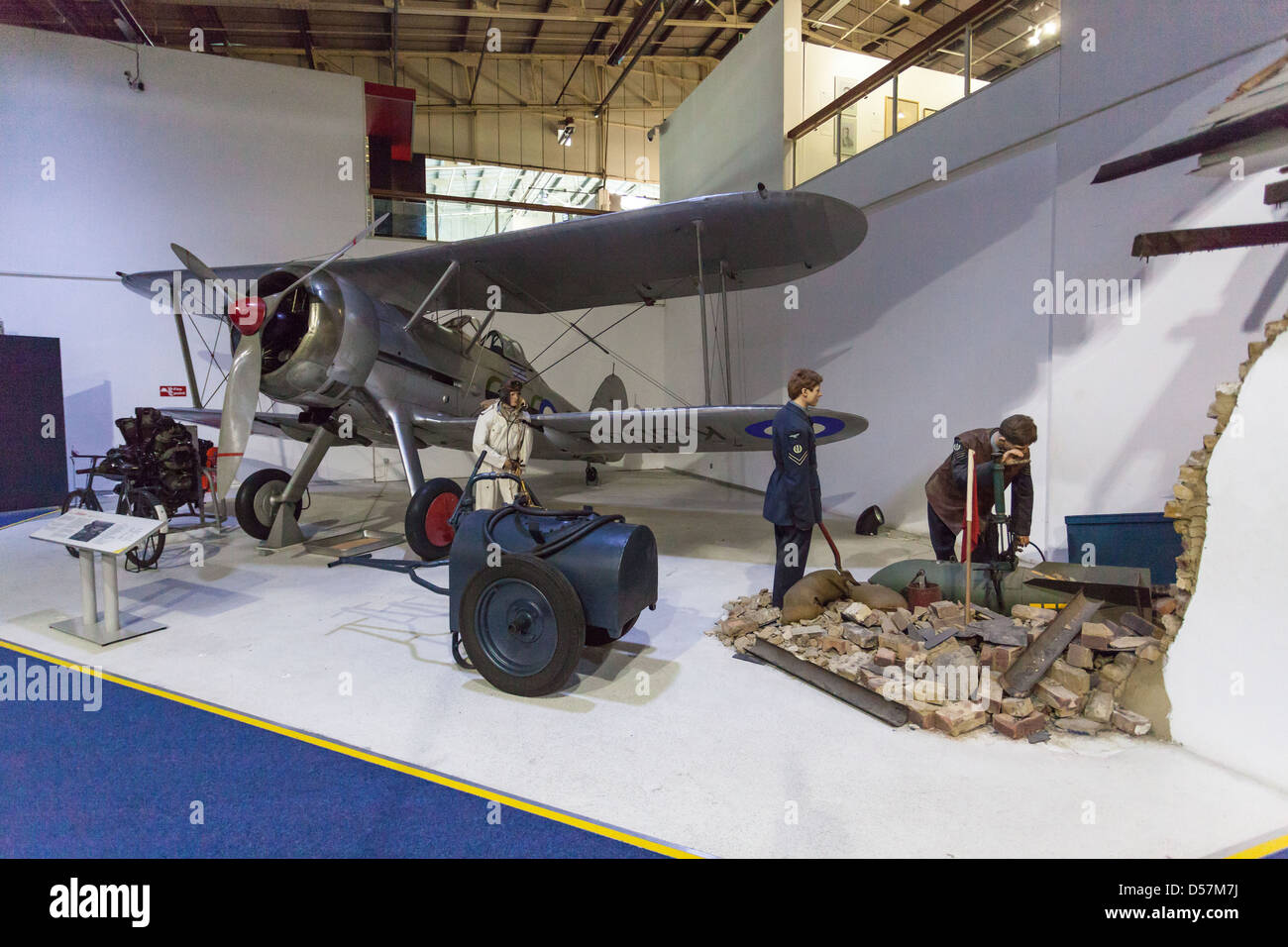 Gloster Gladiator fighter biplano, Royal Air Force (RAF Museum, London, England, Regno Unito Immagini Stock