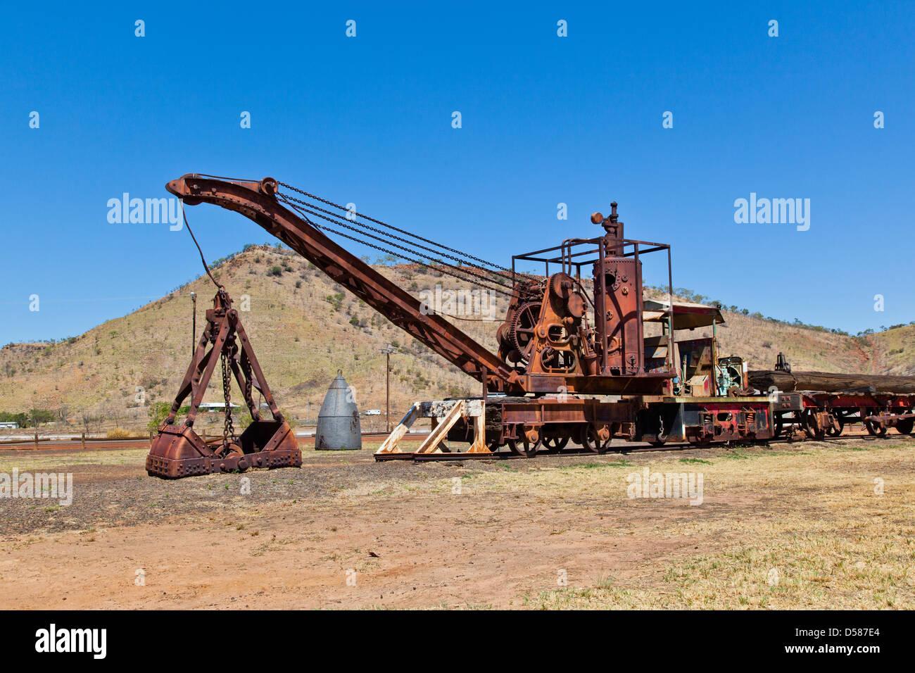 Australia, Australia occidentale, Wyndham, Wyndham porta, macchinari in disuso del treno meatworks. Immagini Stock