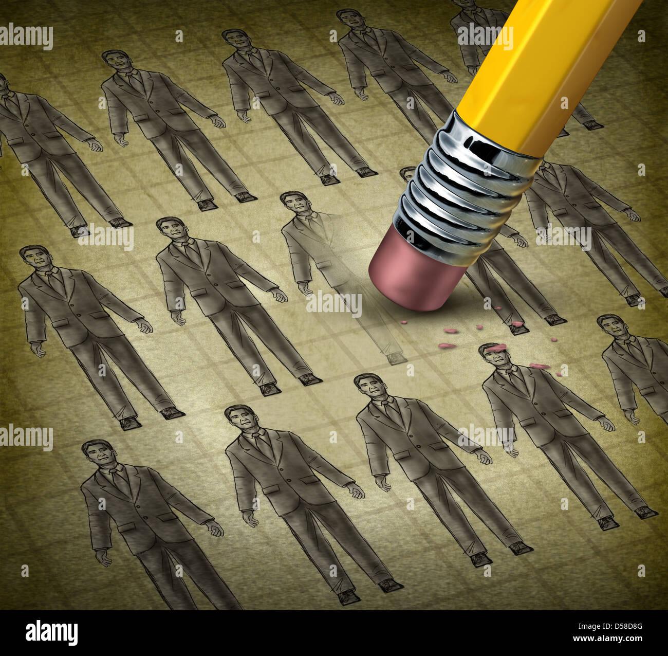Il taglio di personale e di lavoro ai dipendenti il concetto di riduzione riducendo i costi a un business con una Immagini Stock
