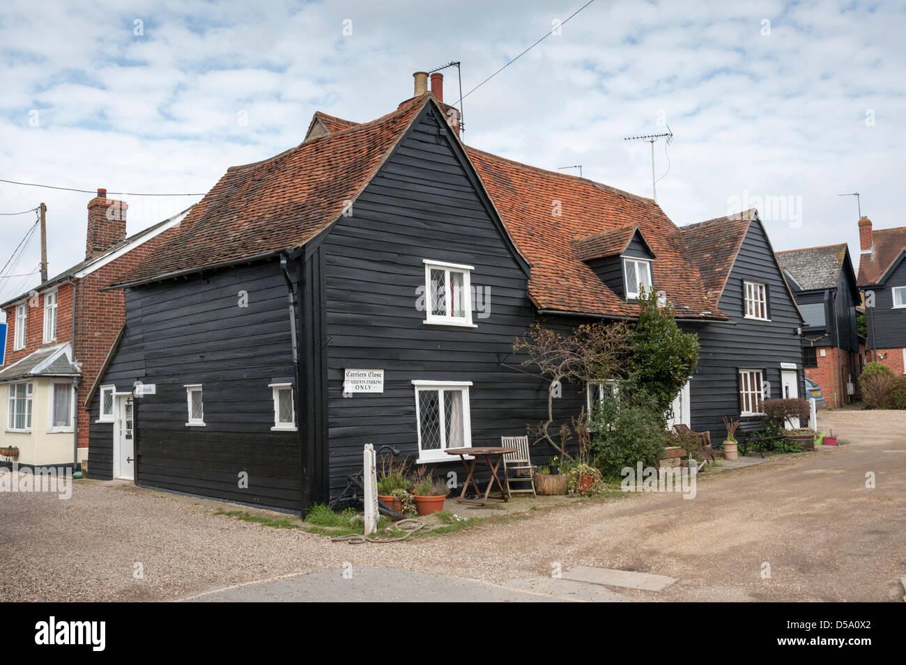 Una vecchia casa sulla costa chiamato Waterside vettori vicino Coast Road West Mersea Colchester Regno Unito Immagini Stock