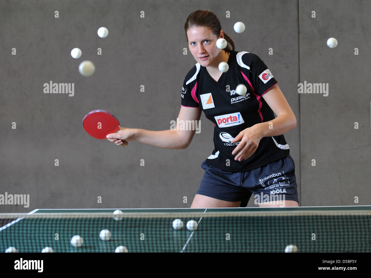 Berlino, Germania, ping-pong player Irene Ivancan Immagini Stock