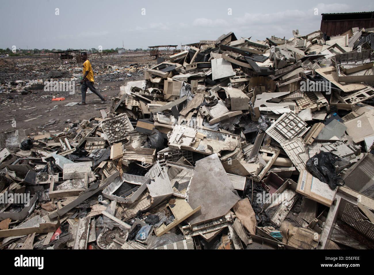 Rifiuti elettronici in discarica Agbogbloshie, Accra, Ghana. Immagini Stock