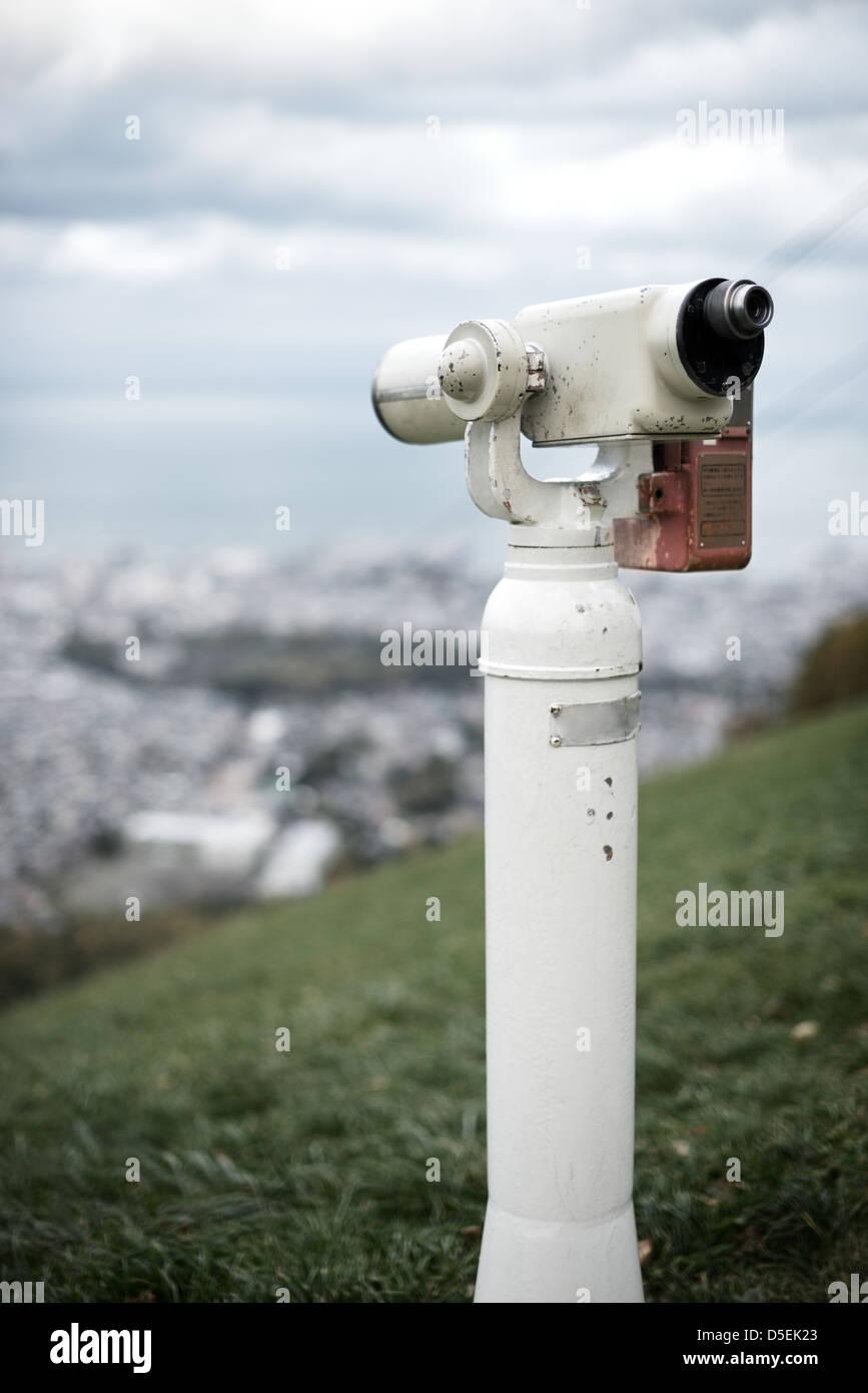 Mirino in corrispondenza di un punto di osservazione sopra Otaru, Giappone. Immagini Stock