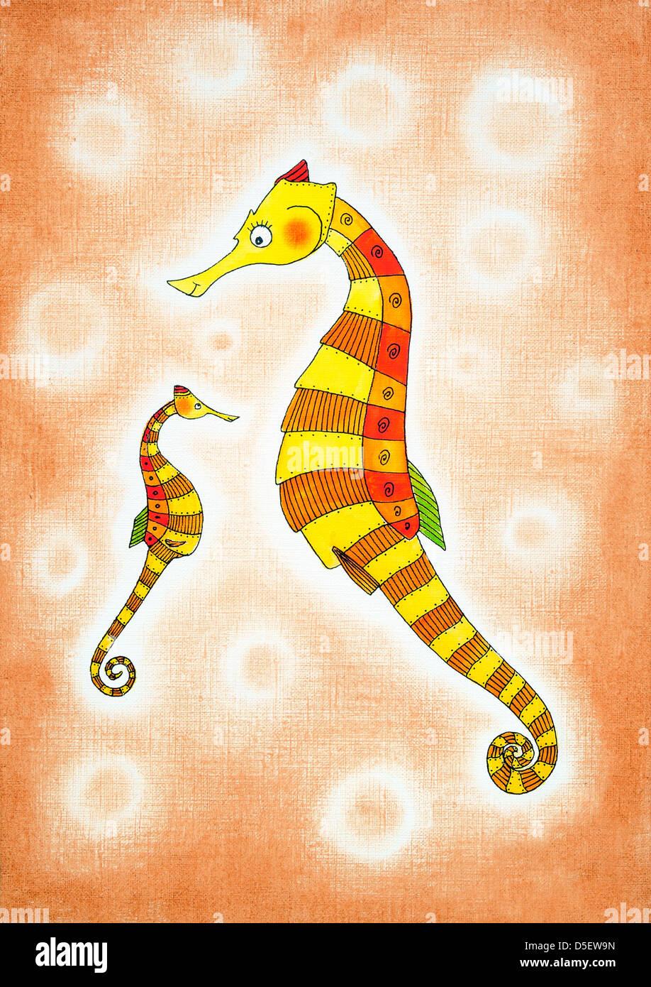 Cavalluccio Marino Per Bambini Disegno Pittura Ad Acquarello