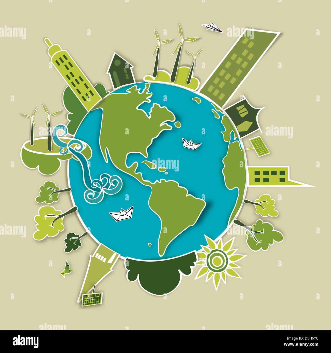 Go green concept mondo. L'industria lo sviluppo sostenibile con la conservazione ambientale Globe. Illustrazione Vettoriale stratificata di file per una facile manipolazione Foto Stock