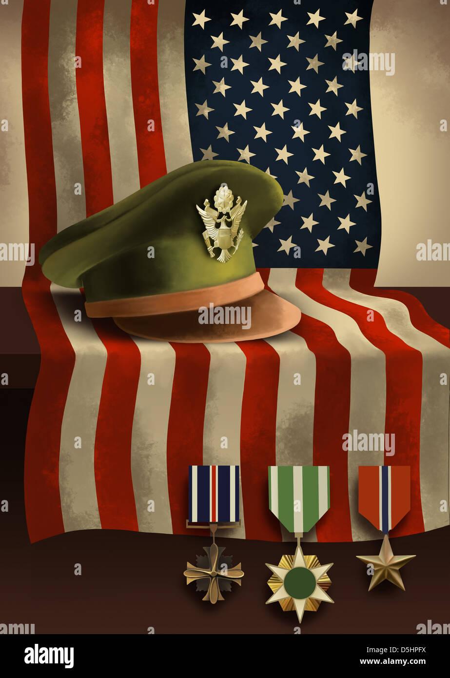 Immagine illustrativa della bandiera americana con medaglie