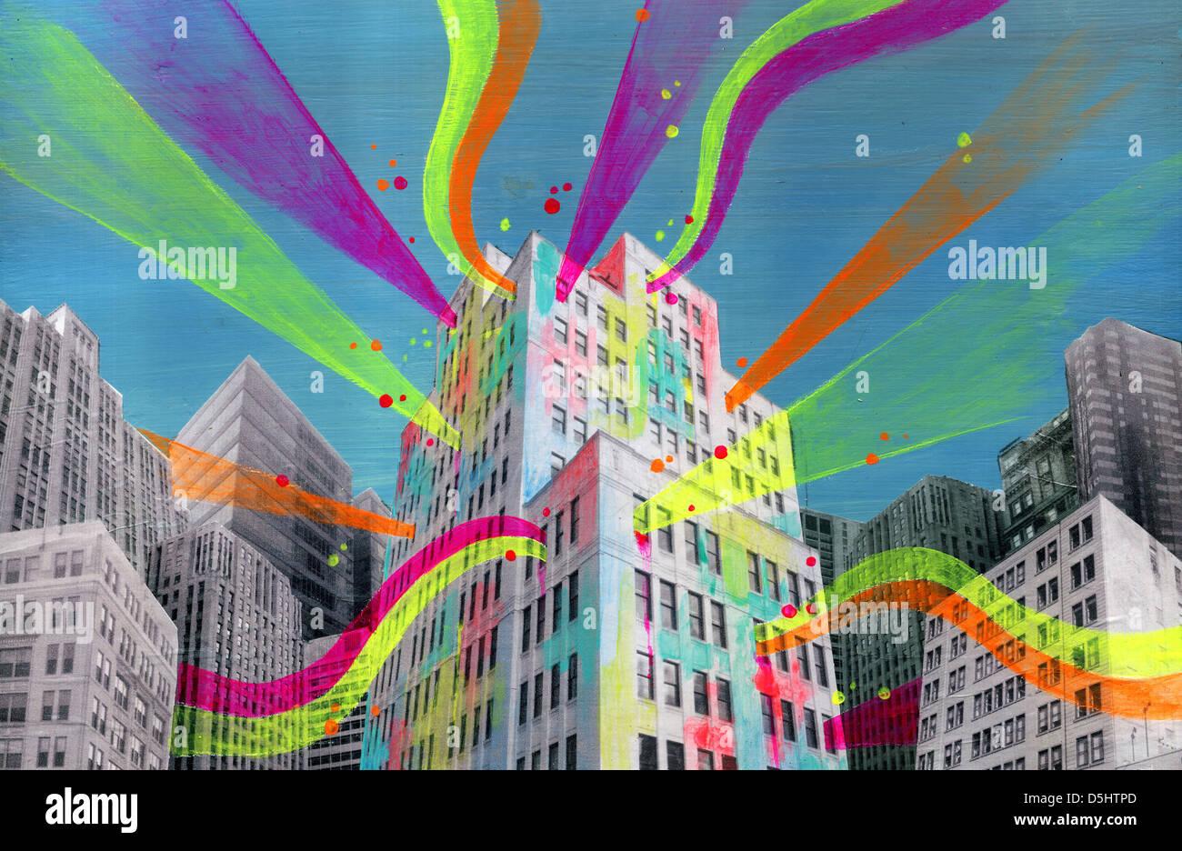 Illustrazione della creazione di luci di emissione in rappresentanza di social networking Foto Stock
