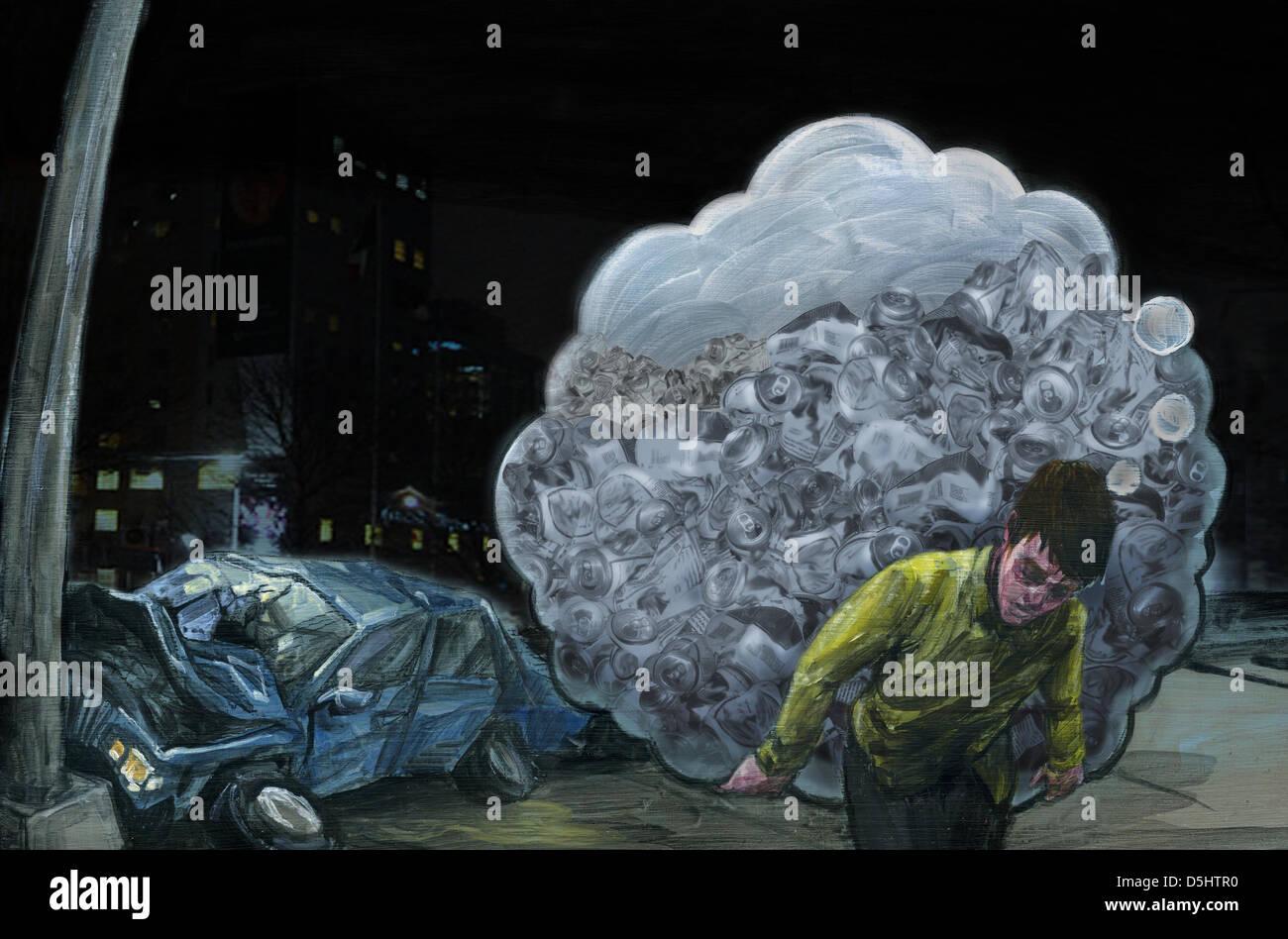 Illustrazione di ubriaco che porta bottiglie con auto si è schiantato in background Immagini Stock