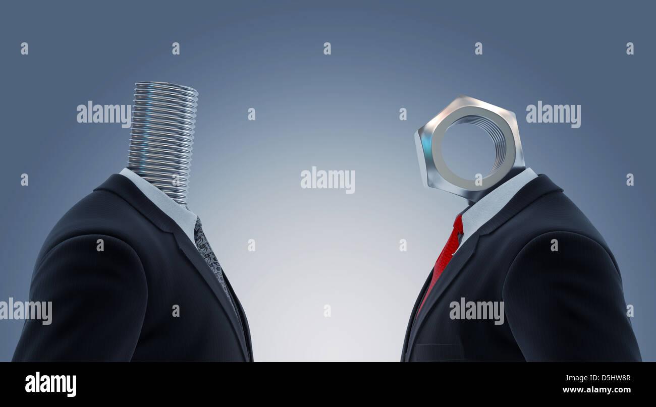 Illustrazione di due imprenditori la testa con il dado e il bullone che rappresentano il partenariato Foto Stock
