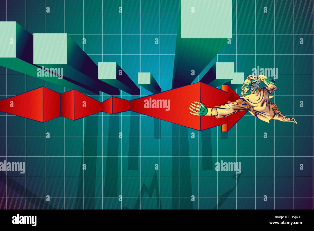 Illustrazione di imprenditore di arrampicata segno di freccia dal grafico a barre che rappresenta il recupero di Immagini Stock