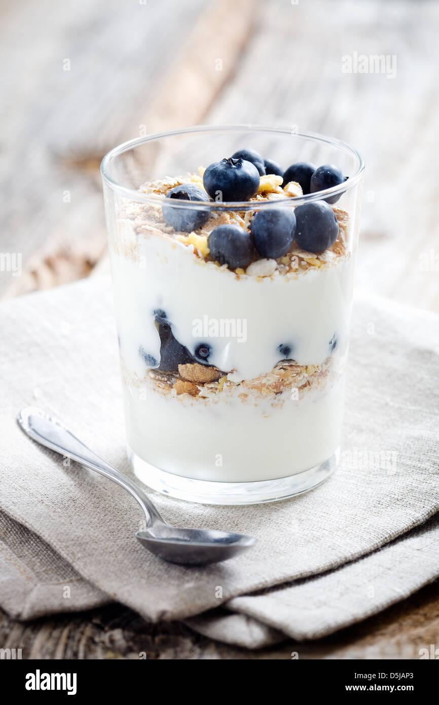 Lo yogurt naturale con mirtilli freschi, il fuoco selettivo Immagini Stock