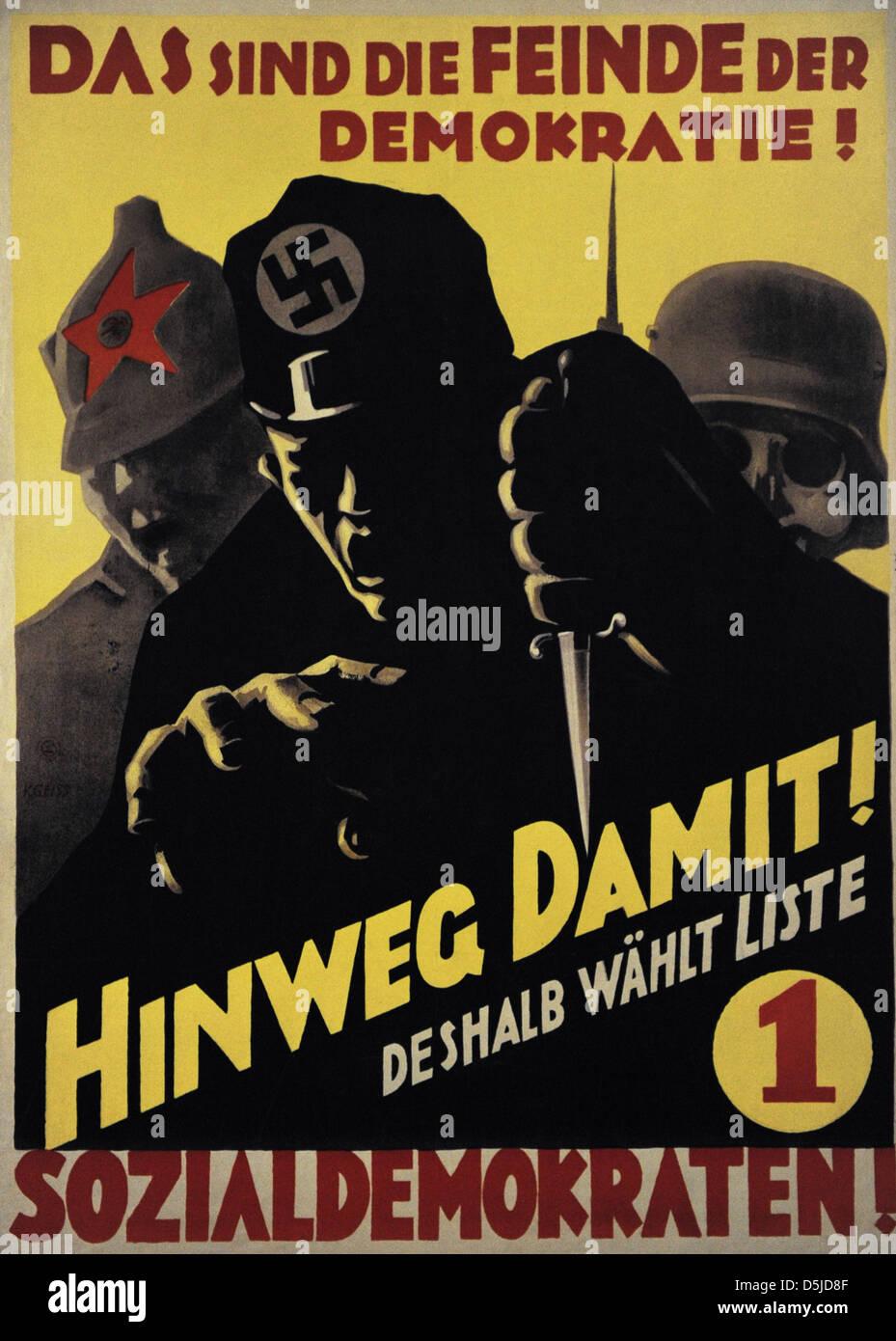SPD poster per le elezioni del Reichstag. Settembre, 1930. Germania. Immagini Stock