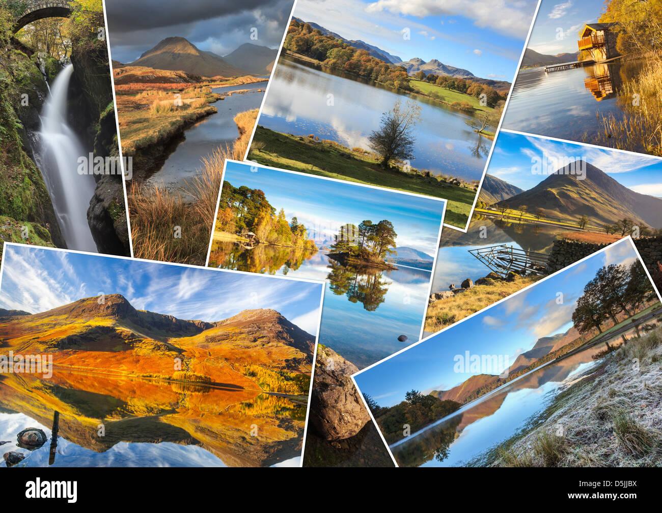 Un montaggio di 8 immagini del Parco Nazionale del Distretto dei Laghi Immagini Stock