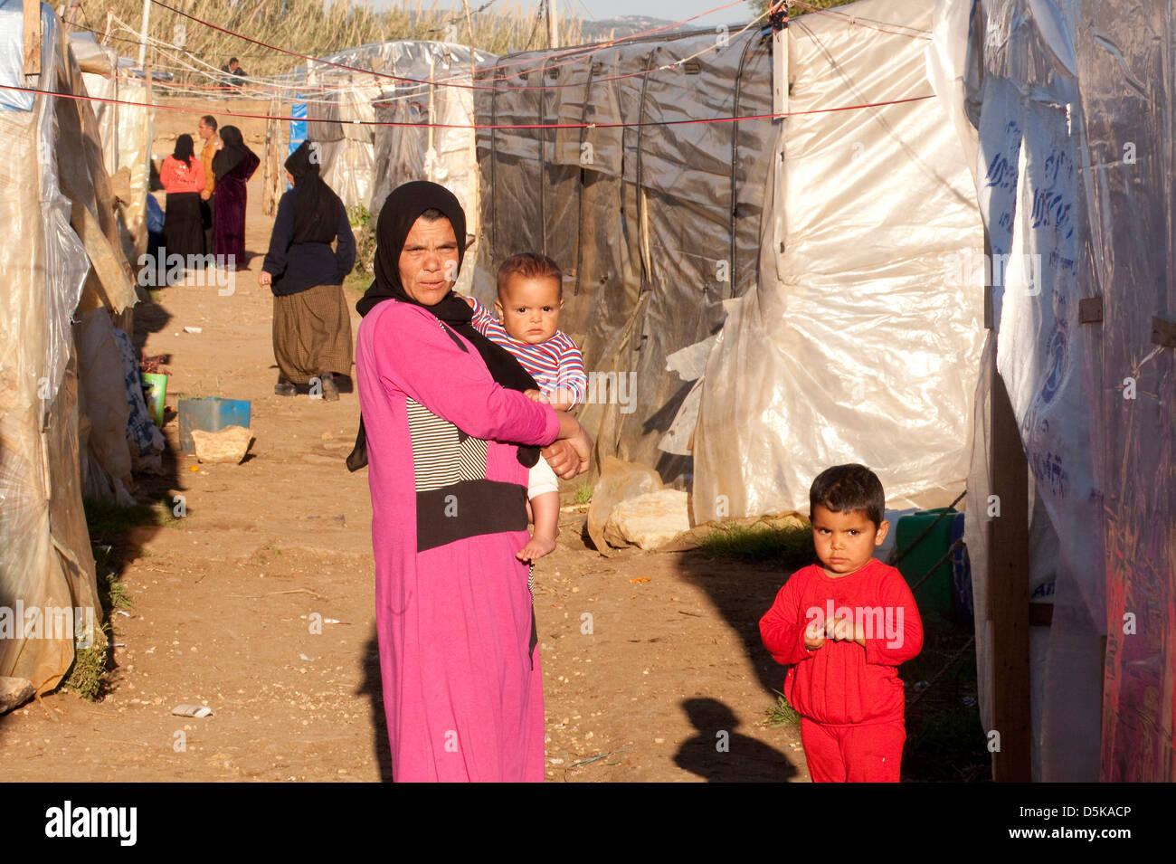 Rifugiati siriano a El Minière, nel Nord del Libano Immagini Stock