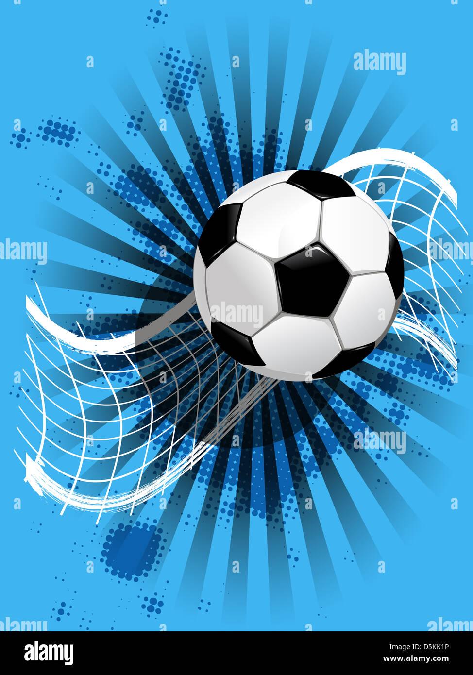 Illustrazione Pallone Da Calcio E Net Su Sfondo Blu Foto Immagine