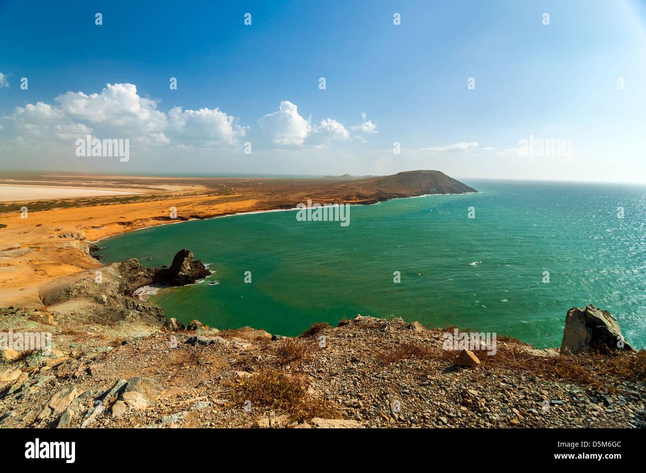 Bella desoloate secco costa de la Guajira, Colombia Foto Stock