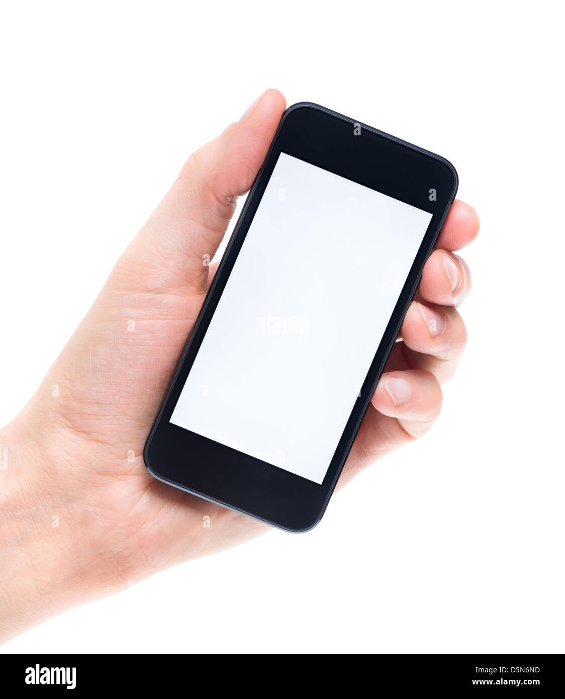 Gli uomini la mano che sorregge e mostrando moderno mobile smartphone con schermo vuoto. Isolato su sfondo bianco. Immagini Stock
