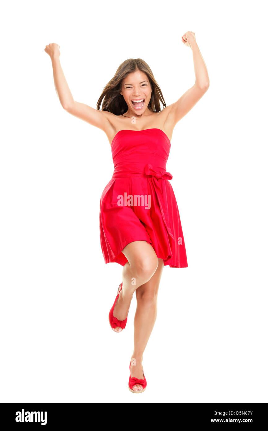 ca36a44f62fe Ritratto di bella fresca giovani razza mista woman in red abiti estivi  isolati su sfondo bianco