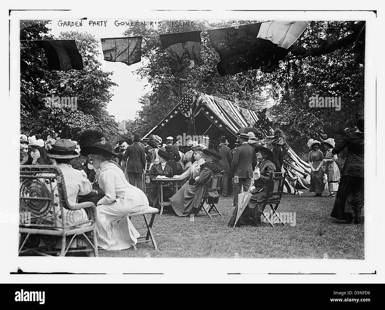 Party in giardino, Governor's Island (LOC) Immagini Stock