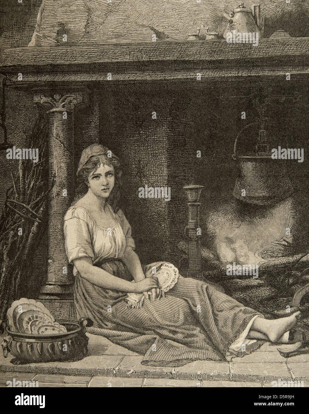Cenerentola. Carattere nel racconto scritto da Charles Perrault. Incisione di Jonnard. La serata, 1894. Immagini Stock
