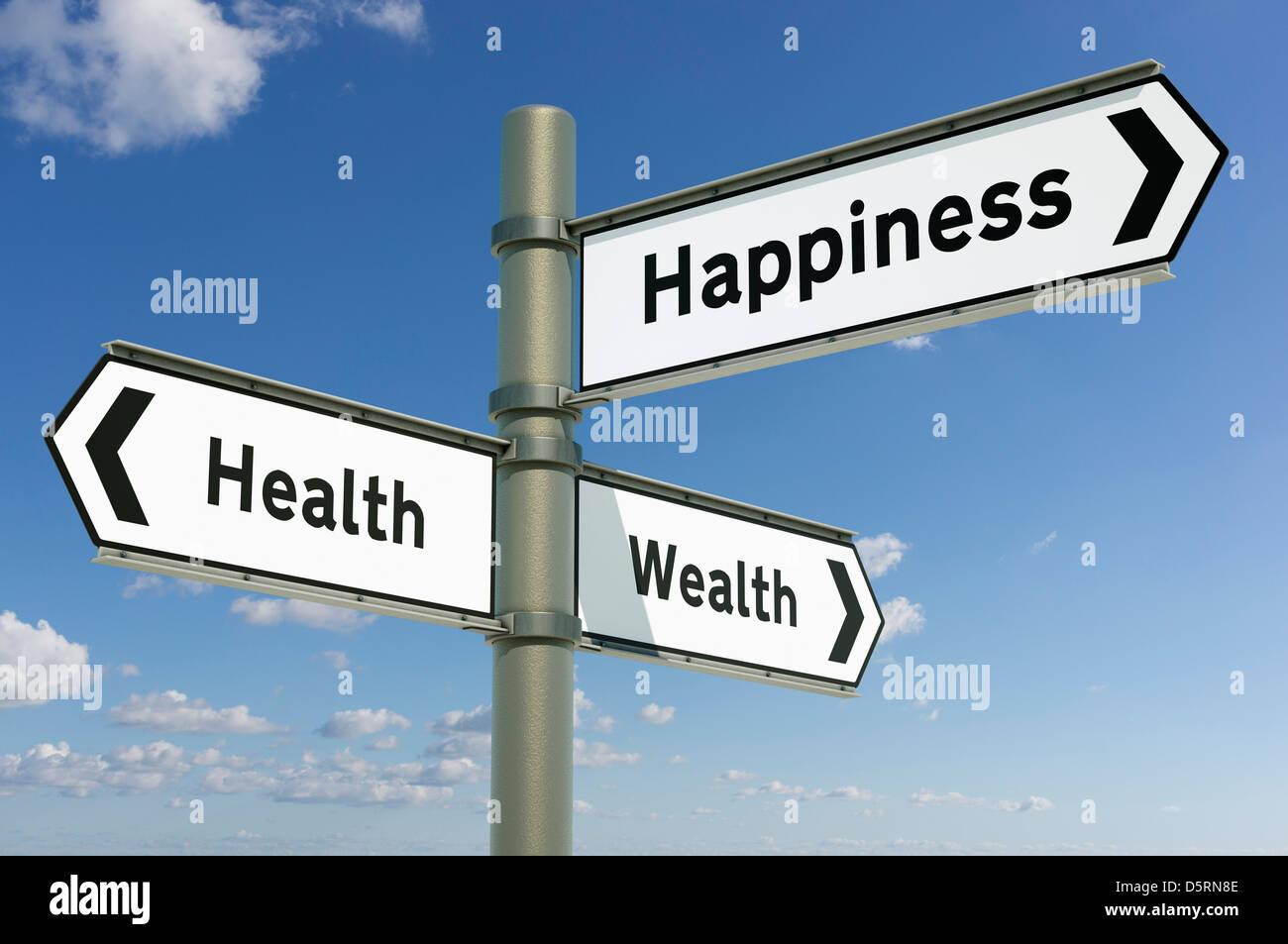 Salute, ricchezza, felicità - decisioni direzione futura scelta concept Immagini Stock