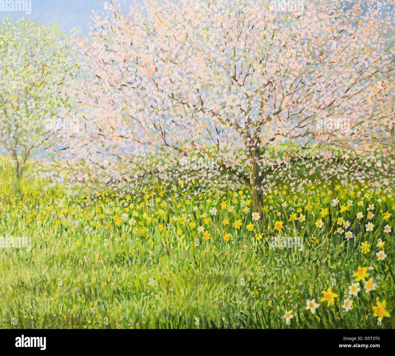 Un dipinto ad olio su tela di una primavera paesaggio naturale con alberi in fiore e colorato prato pieno di narcisi. Immagini Stock